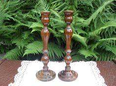 Wooden Candlesticks Vintage CandleSticks by BigGirlSmallWorld