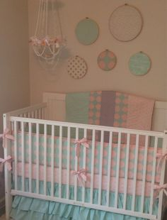 Peach mint and gray baby bedding
