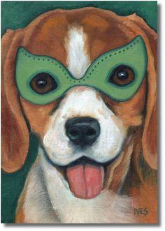 RKIves Original Oil Painting: Bourbon Street Beagle aka The Mardi Gras Hound Dog #Realism