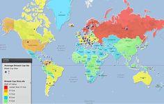 Mapa mundial del tamaño de los pechos de las mujeres