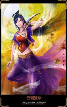 Maple Leaf by hiliuyun on Chinese Fantasy Female Warrior, Anime Warrior, Warrior Girl, Warrior Women, Abstract Digital Art, Image Manga, Fairy Art, Fantastic Art, Chinese Art