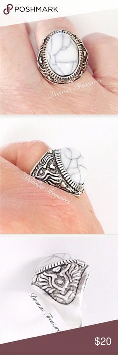 📓Faux Marble & Silver Ring This ring features a manufactured stone with lines through it to simulate veins/cracks. The setting is nickel free silver alloy. The sides are decoratively etched & antiqued. #0867/1 Jewelry Rings