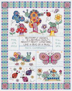 cross stitch patterns birth record elephant | Cross Stitch - Bug In A Rug Birth Record Counted Cross Stitch Kit - 9 ...