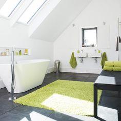 Bright modern bathroom | Attic bathroom ideas | Bathroom | Image | Housetohome.co.uk