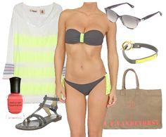 Neon Yellow + Gray Swimwear at the Beach