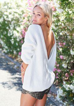 Deep-V Back Sweater - Ribbed Trim V Back Sweater