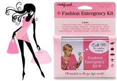 Don't let a fashion emergency like a broken zipper, or makeup marks on clothing send you home early. This cute Fashion Emergency Kit has absolutely everything you need to prevent or repair any wardrobe malfunction. It contains Fashion Tape, Deodorant-Removing Sponge, Lint-Removing Sheets, Sewing Kit and much more! http://www.secretfashionfixes.ie/fashion-emergency-kit/hwfekitpd.html