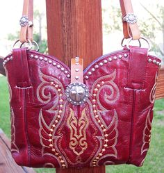 COWBOY BOOT PURSE  Leather Western Bling Rodeo by WindRiverDesigns, $89.00
