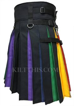 Black 10oz canvas with rainbow flash pleats utility kilt with nickel metals. Custom fit to your measurements, adjustable an additional 5 inches, and interchangeable design allows you to build onto your kilt with additional front panels you can purchase separately. Add upgrades leather