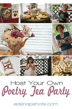 How to host a kids' poetry tea. Food, decor, and activity ideas for a fun poetry reading using poems kids love. Poetry Books For Kids, Poetry Activities, Literacy Activities, Poetry Lessons, Diy For Kids, Tea Time, Tea Party, How To Memorize Things, Activity Ideas