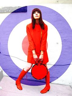 1960s orange mod coat, 1960s 'Joseph LaRose' orange leather lace up go-go boots.