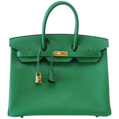 HERMES BIRKIN 35 Bag BENGALE gold hardware blue interior! (96,205 PEN) ❤ liked on Polyvore featuring bags, handbags, hermes, blue purse, hermes bag, hermes purse, green handbags and hermès