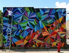 These colorful geometric murals were done by Matt W. Moore, an amazing graffiti artist who can blend shapes, colors and street art all in one. Check out this post for some really awesome graffiti murals all over the globe. Murals Street Art, Graffiti Murals, Art Mural, Street Art Graffiti, Wall Art, Mural Painting, Wall Murals, Paintings, Arte Fashion