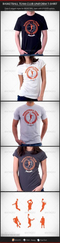 #Basketball #Team Club Uniform T-Shirt - Sports & Teams #T-Shirts Download here: https://graphicriver.net/item/basketball-team-club-uniform-tshirt/3351725?ref=alena994