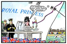 14 June 2013 - Thomas draws Kate Middleton at the launch of a ship in which she showed off her bump.