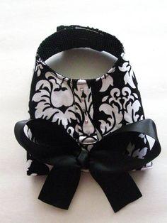 Black Damask Dog Harness Vest
