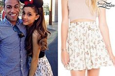 89f74f44141f Ariana Grande met fans at Disney land ( September at disneylandd today  wearing a Brandy Melville Heather Skirt