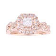 For Her - Vera Wang Love Princess Cut 0.95 Total Carat Weight Cluster and Diamond set Shoulders Ring in 18 Carat Rose Gold
