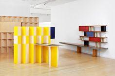 "On the left: Gail Hastings, ""Missing walls: Bureaucracy at work"", on the right: Charlotte Perriand/Jean Prouvé, ""Maison de la Tunisie bookshelf"", Charlotte Perriand, Blog Art, Present Day, Wood Sculpture, Plank, Bookshelves, Minimalism, Workshop, Studio"