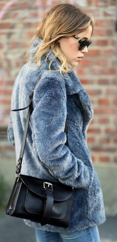 Annabel Rosendahl is wearing a fake fur coat from Sand Copenhagen, jeans from Current Elliott and the bag is from Proenza Schouler... | Style Inspiration