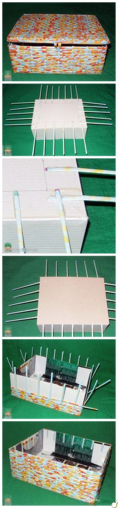 """Paper straw box weaving. Very easy and very cool finished pieces. Could also roll magazines pages for """"straws""""."""