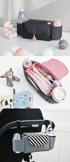 The Conitale Stroller Bag understands mom! It's designed to be easily attachable to a stroller with 2 velcro straps. This bag features pockets to organize baby's items and 2 side cup holders. Even when not used as a stroller bag, it can then be a great bag or organizer to use for everyday use!