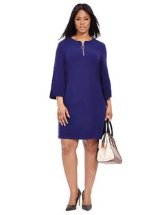 Plus Size TAYLOR DRESSES Front Zip Dress In Midnight Navy