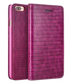iPhone 7/7 Plus Crocodile Pattern Rose Red Leather Wallet Case