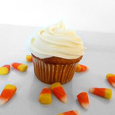 Pumpkin Cupcakes with Cream Cheese Frosting -I made these for Jonah's birthday today...kids loved them!
