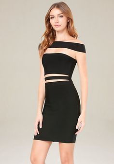Insanely sexy off-shoulder dress with unique front cutouts. Supportive knit fabric sculpts curves. Back hook-and-eye and zip closure.