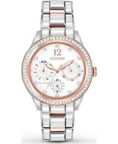 Ladies Citizen Eco-Drive SILHOUETTE Swarovski Crystal Accented Bezel Silver-tone Dial Stainless Steel Date Watch. Bezel Material Stainless Steel with 48 Swarovski® crystal accents. Swarovski Watches, Citizen Eco, Gold Plated Bracelets, Silhouette, Stainless Steel Bracelet, Quartz Watch, Lady, Gold Watch, Jewelry Watches
