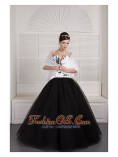 Modest Black and White Ball Gown V-neck Quinceanera Dress Tulle Embroidery Floor-length http://www.fashionos.com Ladies who want the benefits of wearing a corset without the pesky straps or difficulty breathing should check out this fitted gown , which emphasizes the bust and a thin waist with its strapless neckline. The sexy deep V-line is the most special exsistence of the dress.And the shape of black embroidery like a bunch of wintersweet shuttling back and forth.