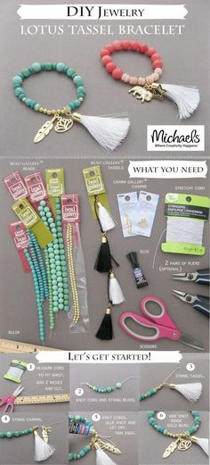 Here come the tassels again! These DIY lotus tassel bracelets from Michaels are super easy to make and look like a hundred bucks! (Click through for tutorial)
