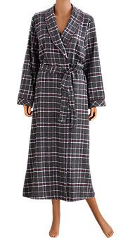 """Flannel Robe for Women.       Yarn-dyed plaid cotton flannel bathrobe maintains its true colors      Approx. 52"""" long      Portuguese flannel is warmer and softer than other types of flannel  Available in a pretty bright red plaid.  $60"""