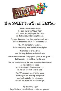A tool to teach children the real meaning of Easter using sweets/candies.