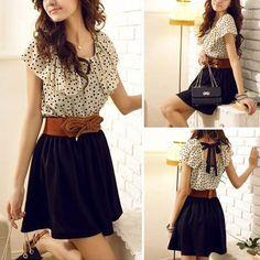 Fashion süße Kontrastfarbe Chiffon Kleid mit Punktemuster und Volant - Fashion Kleider - Kleidung