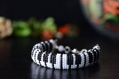 "Bead crochet bracelet ""Piano"" - Beaded bracelet, Piano keyboard, Black and White, Music fans bracelet, Crochet bracelet, Beaded rope, GIft"