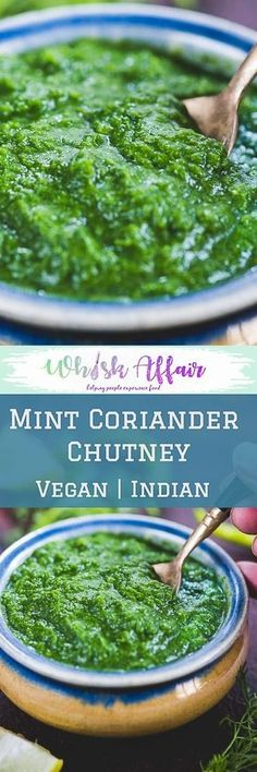This Tangy Mint Coriander Chutney Recipe is bursting with flavours in each bite. Serve it with an appetizer or as a side with any Indian meal because it is a perfect accompaniment to perk up the meal. Here is my mother's famous recipe to make this coriander chutney. #Indian #Chutney #Accompaniments via @WhiskAffair