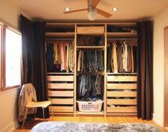 IKEA Pax wardrobe with curtains - a walk-in closet. Via Chezerbey Ikea Closet Design, Wardrobe Design, Closet Designs, Ikea Pax, Bedroom Closet Doors, Closet Curtains, Master Closet, Closet Wall, Hang Curtains