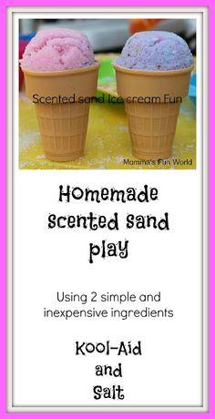 Homemade scented sand play 26 oz salt, packet of koolaid, couple teaspoons water.