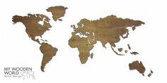 Wereldkaart hout met ingegraveerde landsgrenzen & Noten afwerking