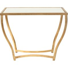 Trenton Console Table in Gold & White