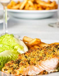 Mary Berry - baked salmon with paremesan and herb crust.