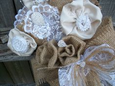 Items similar to Grannys Attic Wedding Bride Vintage Bouquet Matte Satin Lace Leafs Ivory Flowerettes, Burlap Roses, Bow Streamer Lace Silver Brooch Centers on Etsy Country Wedding Bouquets, Wedding Country, Country Decor, Burlap Wreath, Wedding Bride, Wreaths, Trending Outfits, Unique Jewelry, Handmade Gifts