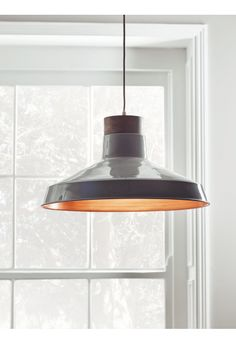 With a soft grey outer and mango wood top, our parasol shaped pendant light will perfectly complement a neutral or industrial inspired interior. The copper interior will add warmth to the atmosphere in your living space, while the elegant prof Industrial Light Fixtures, Industrial Pendant Lights, Pendant Lighting, Copper Interior, Unique Lighting, Salon Design, Ceiling Lights, Grey, Dining Room