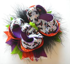 Halloween Hair Bow - Over the Top Boutique Bow - Orange, Purple, Green - Witch Hats and Boots - Photo Prop on Etsy, $10.00