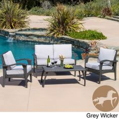 Christopher Knight Home Honolulu Outdoor 4-piece Wicker Seating Set and Cushions | Overstock.com Shopping - Big Discounts on Christopher Kni...