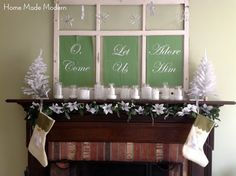 DIY Christmas Decorations! Christmas Mantel from Repurposed Window | http://diyready.com/our-20-favorite-mantel-decorating-ideas-christmas-mantel-decor/