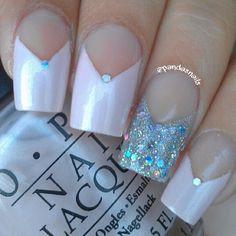 V french tips with silver accent nail  #elegant #bridal #nail design