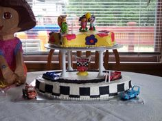 Having a combined 2nd b-day party for my son and niece .... how cute would this cake be!
